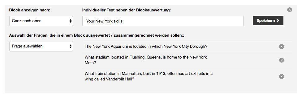 Quiz Blockauswertung