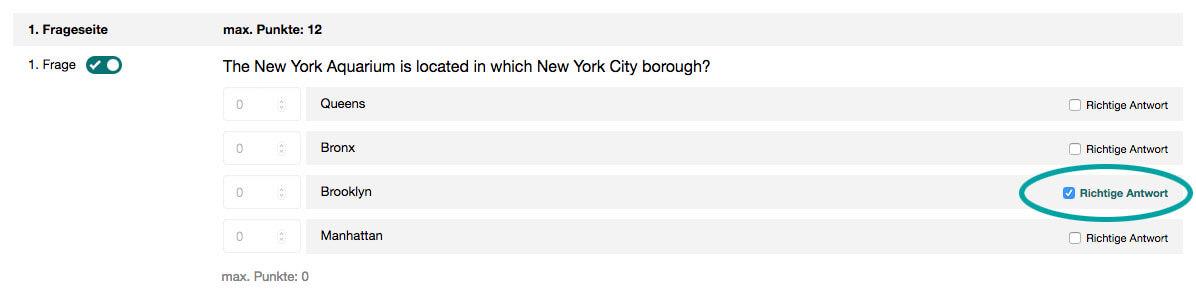 Quiz richtige Antworten