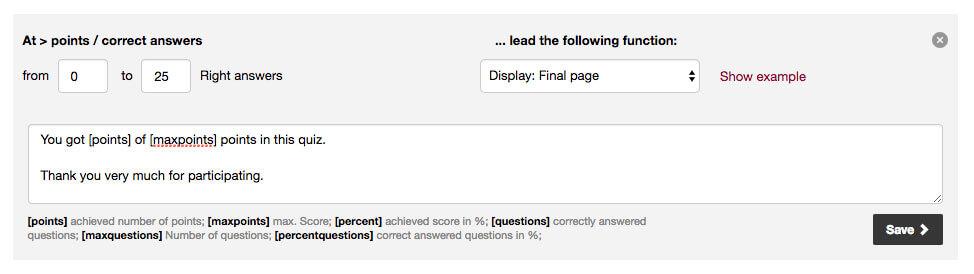 Individual Quiz notification