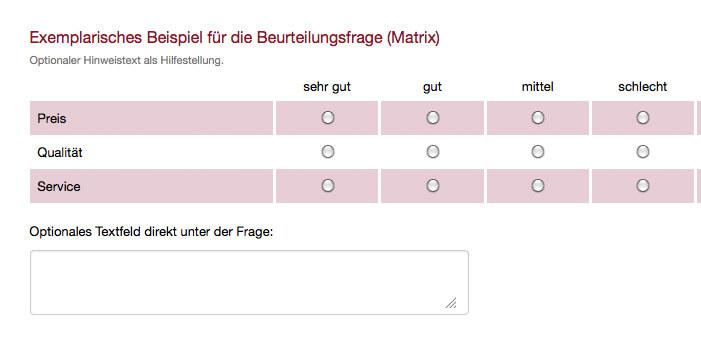 Exemplarische Matrix Frage Umfrage