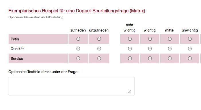 Exemplarische Doppel-Matrix Frage Umfrage