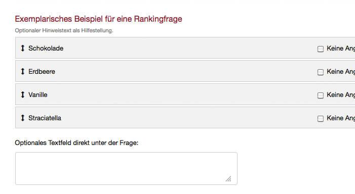 Exemplarische Ranking Frage Umfrage