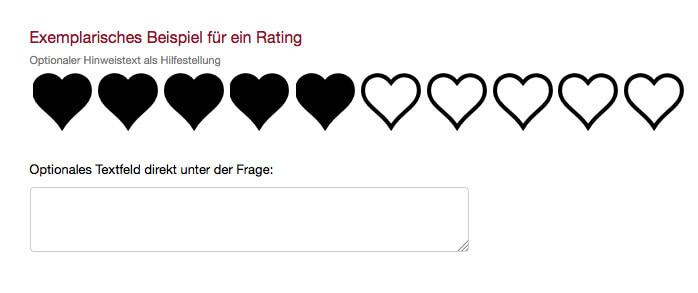 Exemplarische Rating Frage Umfrage