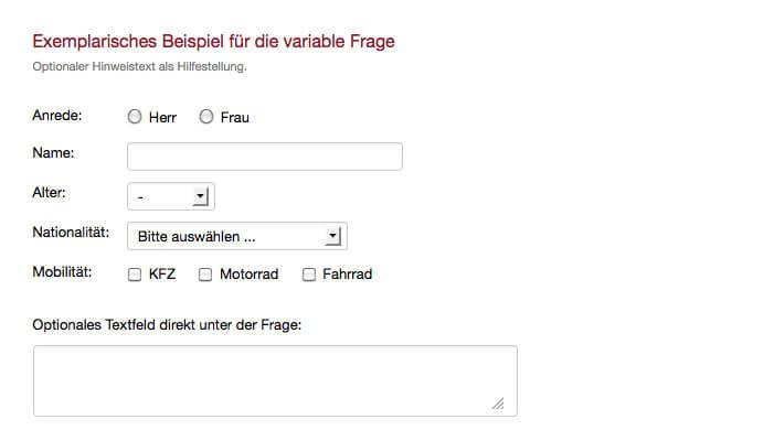 Exemplarische variable Frage Umfrage