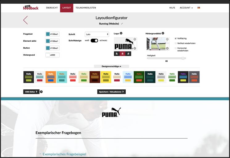 Gestaltung des Umfrage-Designs mit dem Layoutkonfigurator