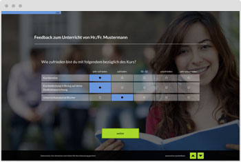 Umfrage-Vorlage: Bewertung von Lehrkräften