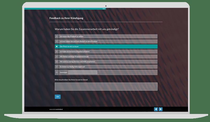 Kündigungsgründe von Kunden erfragen Umfrage-Vorlage