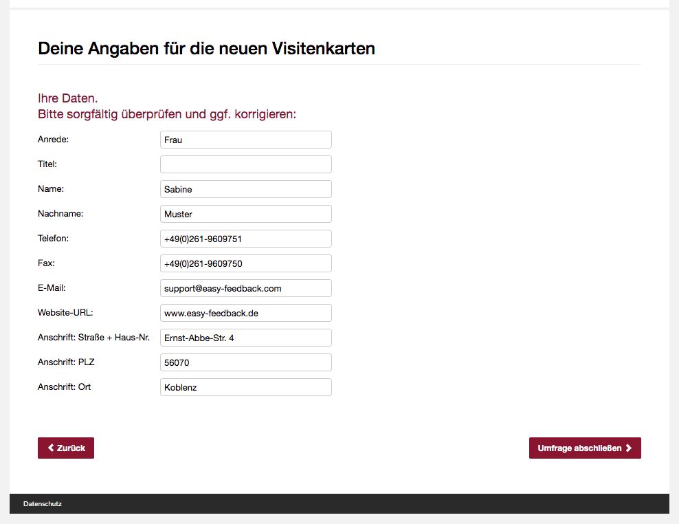 Umfrage Visitenkarte Dateneingabe