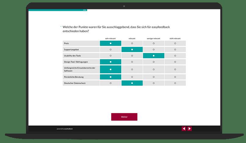 Produktoptimierung Umfrage-Vorlage