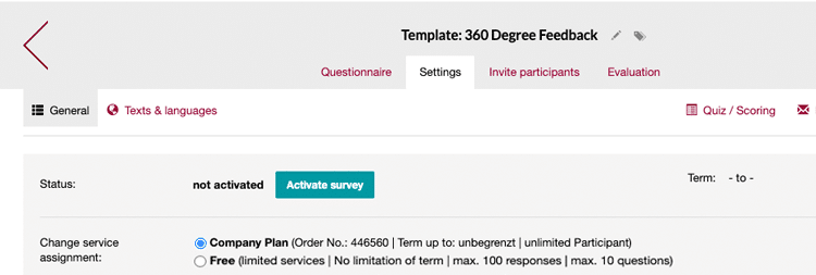 Activate your 360 survey for sending the email invitations
