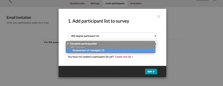Add participant list to your 360 degree survey
