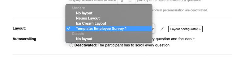 Assign layout template to survey
