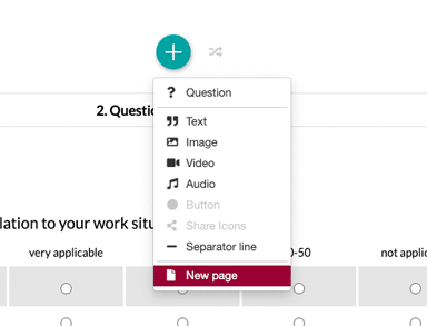 Create new page in survey