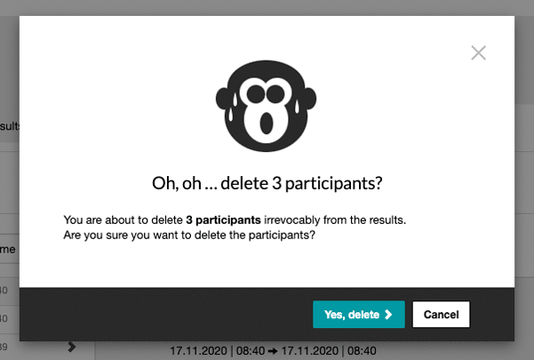 Delete results from participants