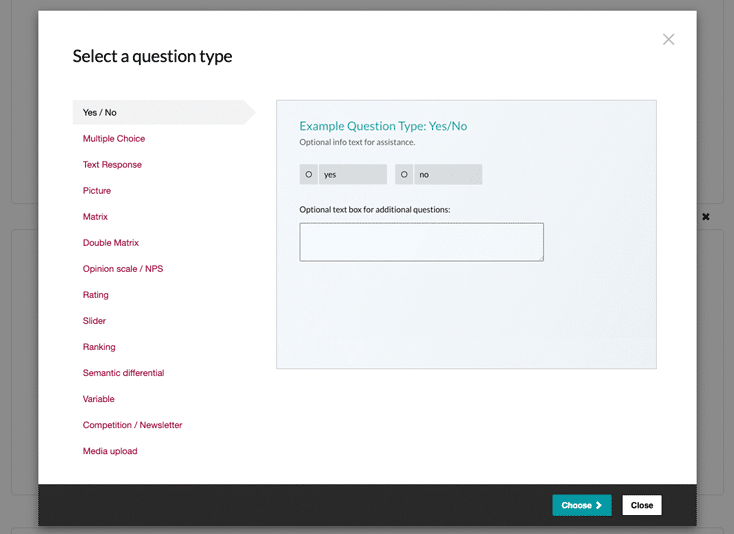 Select question type for survey