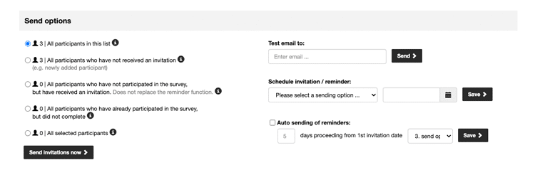 Select the send option and send your test invitations