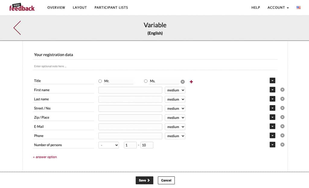 variable question survey tool