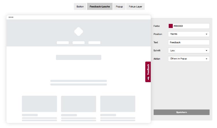 Website Integration: Feedback-Lasche