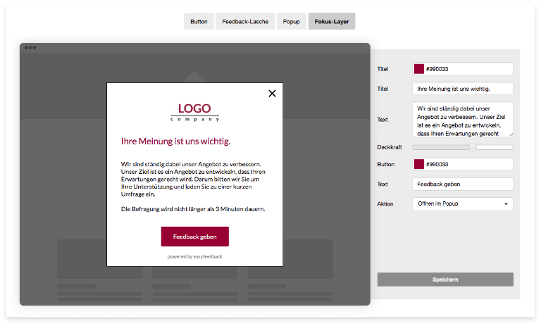 Website Integration: Fokus-Layer