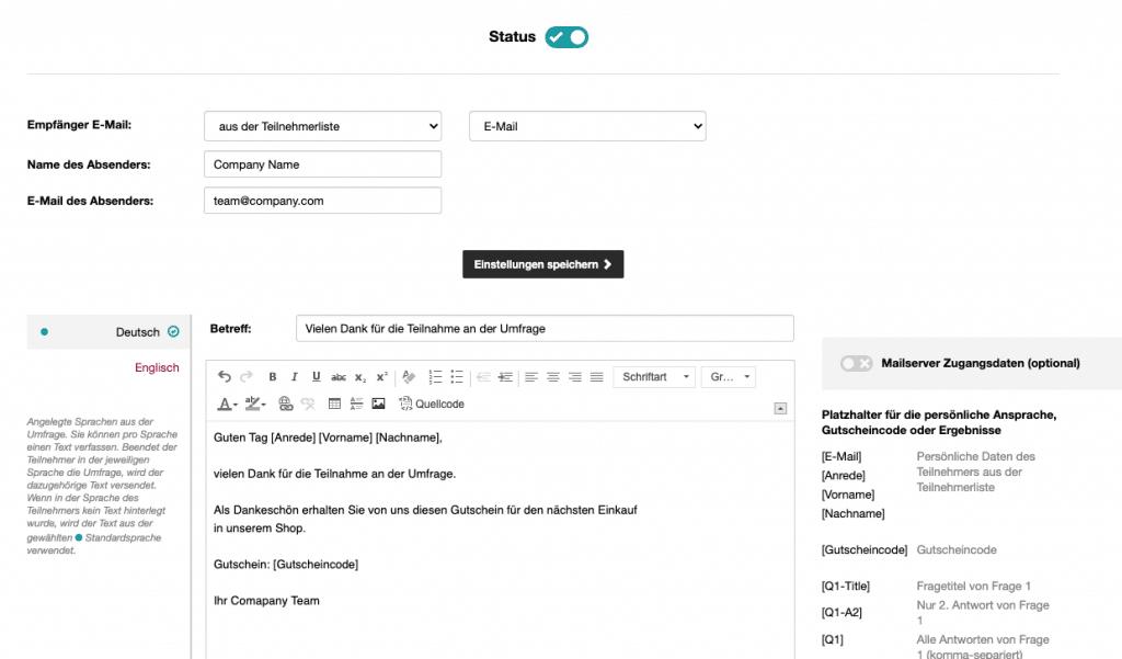 Email nach einer Teilnahme an einer Umfrage versenden