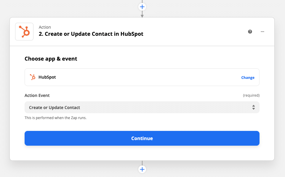 Select the action that should take place in your app